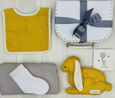 """Beautiful unisex baby hamper with products from Alimrose and Emotion and Kids. This on is called """"Comfort Bunny"""" Baby Hamper, Baby Presents, Baby Socks, Modern Colors, Baby Boutique, Unisex Baby, Mustard, Bunny"""