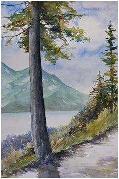 Overlooking Waterton Lake | Angela Fehr watercolours http://angelafehr.com