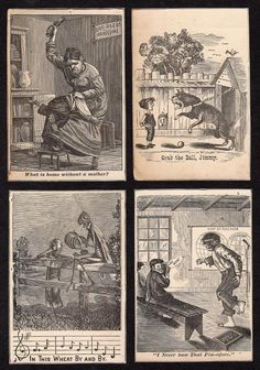 LOT/9 ANTIQUE BLACK & WHITE STOCK & ADVERTISING VICTORIAN TRADE CARDS*HUMOROUS