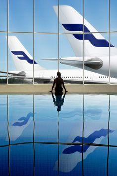 Finnair SPA with view Planes