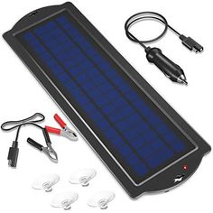 POWOXI 3.5W 12V Solar Trickle Charger for Car Battery, Portable and Waterproof, High Conversion Single Crystal Silicon Solar Panel car Battery Charger for Motorcycle Boat 【Amorphous solar Panel】: Enjoy powerful charging, even in cloudy weather conditions with ultra-convenient amorphous solar technology. 12v solar rechargeable battery 【Prevent battery reverse discharge】: battery charging solar panel uses a built-in barrier diode to prevent back discharge. Great for carefree use both indoors outdo Solar Battery Charger, Portable Battery, Cloudy Weather, Solar Car, Water Crafts, Weather Conditions, Solar Power, Solar Panels, Boat