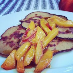 #glutenfree Strawberry Ricotta Pancakes with Sautéed Peaches