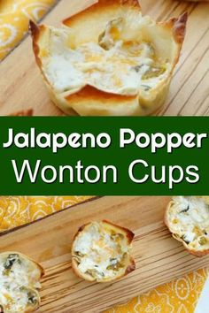 Jalapeno Popper Wonton Cups - An Easy Appetizer for a Crowd! - Jalapeno Popper Wonton Cups – Easy appetizer and perfect for your Super Bowl Party or big game # - Wonton Appetizers, Appetizers For A Crowd, Easy Appetizer Recipes, Best Appetizers, Wonton Recipes, Jalapeno Recipes, Game Recipes, Healthy Superbowl Snacks, Healthy Vegan Snacks