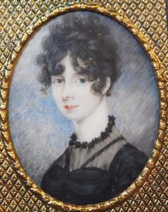 LOVELY REGENCY PERIOD PORTRAIT MINIATURE PRETTY YOUNG LADY DRESSED IN BLACK