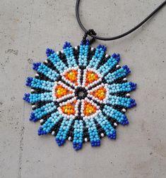 Mandala necklace Colombia Beadwork inspired by native Beaded Jewelry Designs, Bead Jewellery, Beaded Tassel Earrings, Boho Necklace, Beaded Flowers Patterns, African Necklace, Native Beadwork, Bead Loom Bracelets, Loom Beading