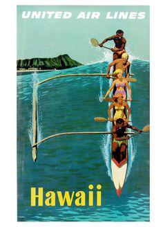 Hawaii vintage travel poster