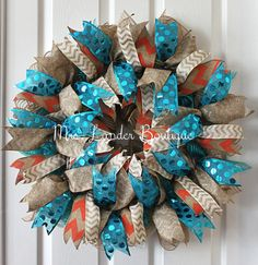 Southwestern Wreath  Turquoise and Coral by MrsLanderBoutique