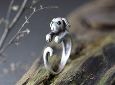 Puppy Ring Women's Girl's Retro Burnished Animal Dog Ring Jewelry Adjustable Free Size Wrap Ring Black Crystal gift idea on Etsy, $9.50
