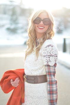 Plaid button-down under lace dress--genius!! (Little Miss Fearless)