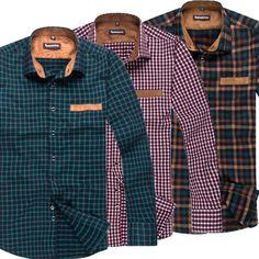 Mens Vintage Fashion Plaids Casual Work Plain Dress Shirts Button Down BZ17 in Casual Shirts | eBay