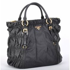 ac681cdf23 £140.00 New Prada Tessuto Leather Gaufre Shoulder Tote Bn1790 - Black  Shopping Online Prada