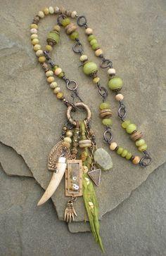 maggie zee prehnite shaman amulet charm necklace