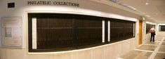 British National Library, London. Philatelic collections.  Panels that you can slide out of the wall and look at stamp collection. Closed on Saturdays. Photo: Nevit Dilmen
