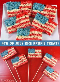 50+ Best 4th of July Desserts - American Flag Rice Krispie Treats