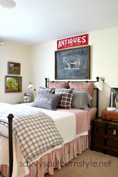 Savvy Southern Style: Ikea Ranarp Lamps in the Guest Room, farmhouse style, antique trunk, Pottery Barn bedding, red, ticking, checks, plaid, gray, Linen White Benjamin Moore paint, guest room ideas
