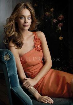 Taffeta Sheath/ Column One Shoulder Knee Length Natural Waist Sleeveless Bridesmaid Dresses
