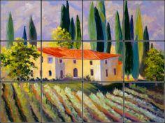 Tuscan Villa Tile Mural | Pacifica Tile Art Studio