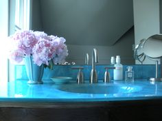 I love our blue glass sink top