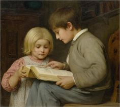 """""""Boy and Girl with Picture Book -- by Albert Anker"""