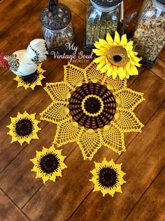 Sunflower Doily and Coasters - Rustic Doilies - Flower Doilies - Pineapple Doily - Coffee Table Doily - Wedding Gift - Crochet Lace Doily Crochet Doily Patterns, Crochet Doilies, Crochet Flowers, Crochet Lace, Crochet Sunflower Crochet Sunflower, Sunflower Gifts, Pineapple Crochet, Sunflower Pattern, Crochet Flower Patterns, Crochet Designs, Crochet Flowers, Pattern Designs, Dress Patterns