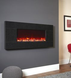 Basalt Granite Electriflame Wall Mounted Electric Fire, From Celsi