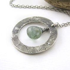 Moss Aquamarine Necklace Fine Silver Circle Hoop by JenniferCasady