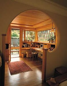 This looks really nice and a bit hobbit like I would enjoy writing here though it would be a bit cozier with more books and a more comfy chair Earthship Home, Cozy House, My Dream Home, Home Office, Man Office, Living Spaces, Living Room, House Plans, Sweet Home