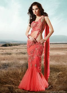 Image result for salmon colour lehenga