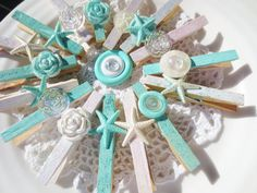 Clothes Pin Sea Glass Beach Glitter Starfish Vintage by BlancheB, $26.00