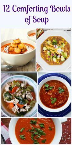 12 Comforting Bowls of Soup, from homemade to creamy to veggies and healthy, but all are comforting bowls of soup. Try them all.