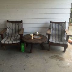 Vintage Mid Century Redwood Furniture Porch Chairs Table