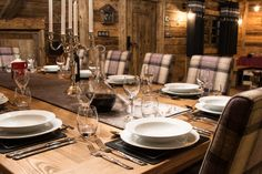 Photograph gallery of the luxury ski chalet, La Grange au Merle, by Clarian Chalets. Includes views over the charming ski resort village of Chatel. Alpine Chalet, Ski Chalet, Merle, Mountain Homes, Dining Table Chairs, Skiing, Table Settings, Dinner, Luxury