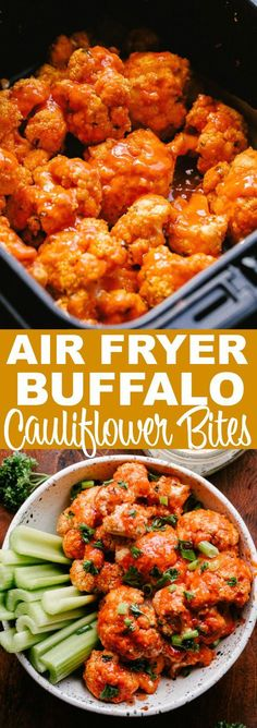 Cauliflower stands as a delicious vegetarian alternative to chicken wings in this recipe for spicy Air Fryer Buffalo Cauliflower Bites. Prepared with an almond flo Air Fryer Oven Recipes, Air Frier Recipes, Air Fryer Dinner Recipes, Air Fryer Recipes Vegetarian, Air Fryer Recipes Cauliflower, Air Fryer Chicken Recipes, Air Fryer Chicken Wings, Vegetarian Keto, Vegetarian Recipes With Cauliflower