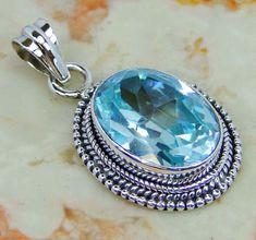   Sky Blue Topaz Pendant : Blue topaz Sterling silver pendant   Wholesale blue topaz pendant jewellery  