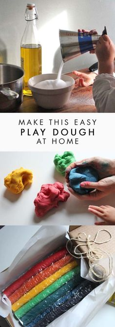 Homemade play dough — free from nasty chemicals — is like a colourful, happy, doughy ball of therapy. Also, purchased ones contain ingredients I am unsure of… so if my eighteen-month-old decides to take a bite, it is a bit scary! Plus making play dough is so very easy, it can be done by all ages, and the process of making it is definitely part of the fun!