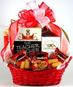Your Teacher's Favorite Gourmet Treats Best Gift Baskets, Teacher Gift Baskets, Teacher Gifts, Teacher Treats, Basket Gift, Teacher Stuff, Beautiful Teacher, Danish Butter Cookies, Red Basket