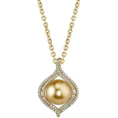Golden Pearl & Diamond Clara Pendant (129.905 RUB) ❤ liked on Polyvore featuring jewelry, pendants, golden, set jewelry, diamond jewelry, 18k pendant, diamond jewellery and golden pearl pendant