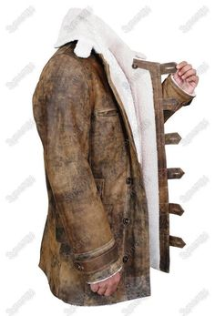 Mens Shearling WW2 Flying Bomber Real Sheepskin Warm Leather Jacket Trench Coat #Handmade
