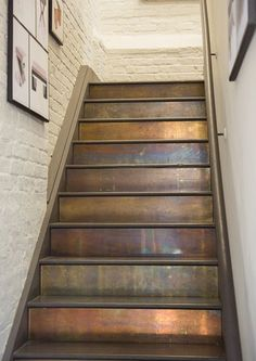 Patinated brass cladding on stairs. patinated brass cladding on stairs. more paint stairs, decorating stairway walls Painted Staircases, Painted Stairs, Metal Stairs, Staircase Painting, Black Stairs, Concrete Stairs, Metal Railings, Tile On Stairs, Metal Arch