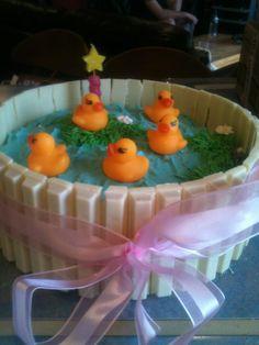 duck pond kit kat cake
