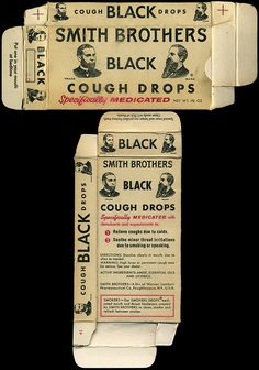 Smith Brothers - Black cough drops box I choked on this cough drop at Grandma's house and she saved me!
