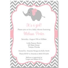 Chevron Elephant Pink Baby Shower Invitation