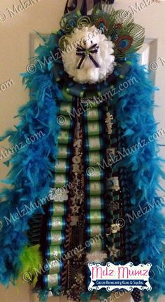 MelzMumz.com Classic Single Homecoming Mum Peacock Theme
