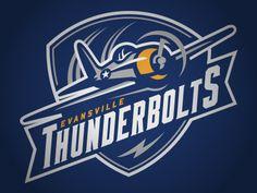 Evansville Thunderbolts designed by Ryan Foose for Fooser Sports Design. Hockey Logos, Sports Team Logos, Lightning Logo, Esports Logo, Bold Logo, Mascot Design, Badge Logo, Great Logos, Logo Concept