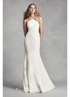9cd53efb3cd White by Vera Wang Halter Sheath Wedding Dress VW351346  898 Halter Wedding  Gowns