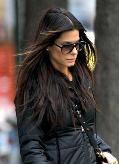 Sandra Bullock's casual, brunette hairstyles | SheKnows CelebSalon