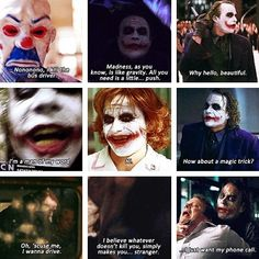 Middle one is my favorite scene.joker quotes are awesome.Jack Nicholson and/or Heath Ledger Joker Cosplay, Heath Ledger Quotes, Suicide Squad, Kings & Queens, Heath Ledger Joker, The Dark Knight Trilogy, Im Batman, Batman Arkham, Batman Art