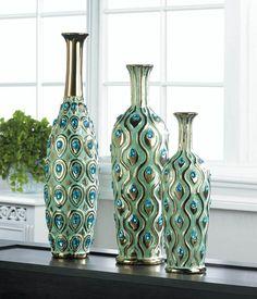 Home Decor Peacock Long Neck Jewel Vase: Home & Kitchen