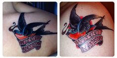 Mine (left) & my husband's (right) couple tattoo by Dan at NeedleWurks in Saratoga, NY. We wanted to keep it traditional sailor jerry. The swallow represents our marriage since swallows mate for life. The coordinates are the location of the hospital our daughter was born in & the reason we chose sailor jerry style and my husband added the sailor hat is to represent his time in the navy.