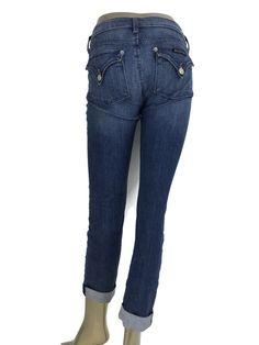 Hudson Premium Denim Women's Bacara Crop Straight Cuffed Jeans Medium Blue Sz 26 #Hudson #CapriCropped